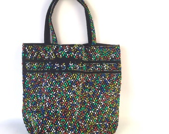 Vintage Beaded Tote Bag with Colorful Flowers Starbursts Candy Dots - Rainbow Colors on Black - Summer Festival Casual Day Bag