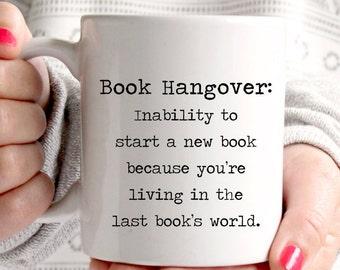 Book hangover description mug, great coffee mug for any book lover