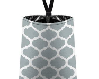 Car Trash Bag // Auto Trash Bag // Car Accessories // Car Litter Bag // Car Garbage Bag - Moroccan Trellis (light grey silver)