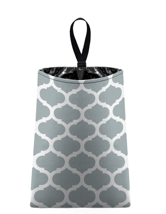 Car Trash Bag // Auto Trash Bag // Car Accessories // Car Litter Bag // Car Garbage Bag - Moroccan Trellis (light grey silver)