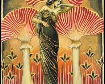 Soma Goddess 8x10 Giclée Canvas Print Pagan Mythology Art Deco Art Nouveau Goddess Art