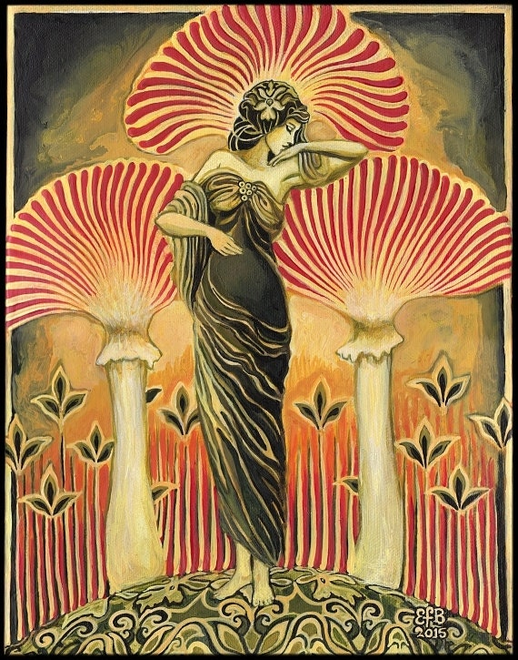 Soma Goddess 16x20 Poster Print Pagan Mythology Art Deco Art