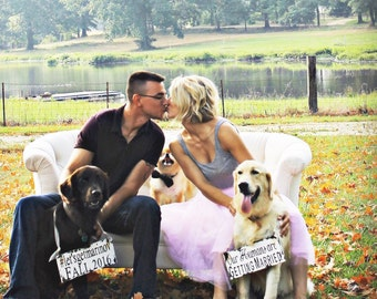 Save The Date Signs for the Dogs. Our Humans Are Getting Married. Photo Props. Rustic Save The Date. Rustic Wedding. Wedding Sign.