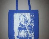 blue tote bag, mindfulness, psychedelia, screenprinted,  silver, royal, screenprinted bag, boho, bohemian canvas tote