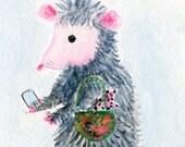 Possum Mom painting, opossum kids in purse, smart phone,  Watercolor Painting, FunnyAnimal Art