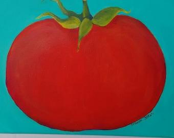 Tomato painting // kitchen art // tomato wall decor // 9 x 12 culinary painting// red tomato acrylic painting canvas art// canvas painting