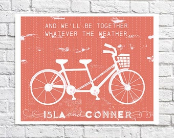 Unique Personalized Wedding Gift For Couple Bicycle Art Print Custom Name Wall Art Wedding Keepsake Cute Tandem Bike Built For Two Artwork
