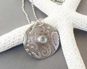 Blue Topaz Seahorse Pendant, Topaz Necklace, Seahorse Necklace, Silver Necklace, Embossed Necklace