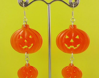 Dangly Orange Pumpkin Halloween Earrings - cute transparent plastic jack o lanterns - Halloween costume party - kitsch spooky scary creepy