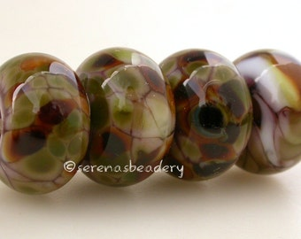 Lampwork Glass Bead Set 4 PSYCHED - TANERES sra violet green brown - 11 or 13 mm