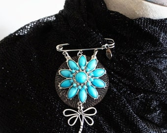 Antiqued Silver Flower Scarf Pin , Blue Costume Jewelry Brooch Pin with Dragonfly Charm