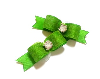 Lime Dog Bows, Lime Pet Hair Bow, Small Dog Bows, Dog Hair Bow, Bows for Dogs, Lime Pet Bow, Rhinestone Dog Bow, Pet Bow, Grooming Bows