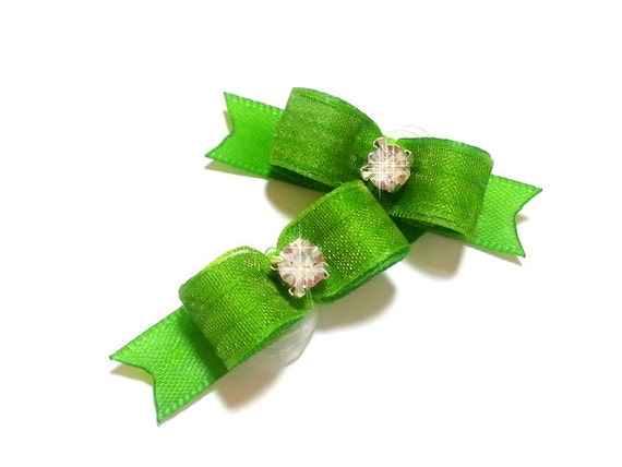 Lime Dog Bows, Fancy Pet Hair Bow,  Small Dog Bows, Pet Hair Bows, Apple Green Bow
