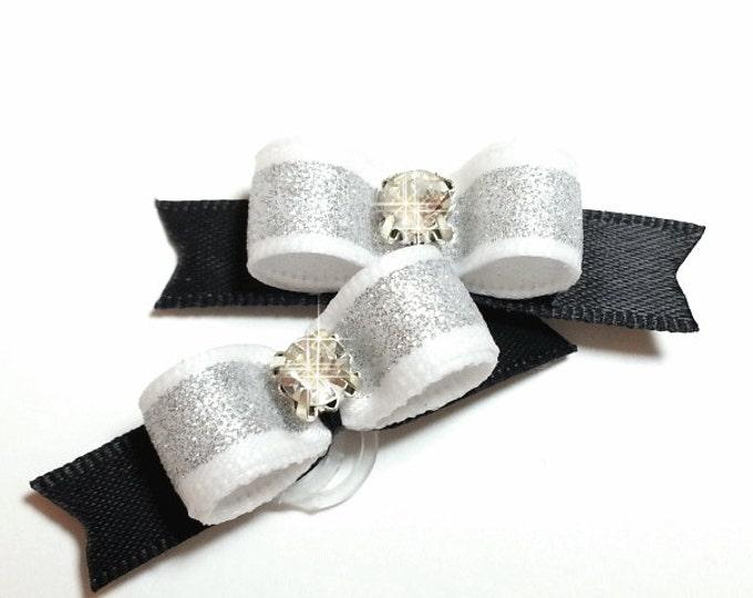 Dog Bow - White Dog Bow - Silver Dog Bow - Dog Bow Tie - Wedding Dog Bow - Fancy Dog Bow, Puppy Dog Bow, Pet Hair Accessory, Pet Bow
