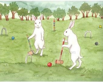 Croquet - Fine Art Print - Rabbits Playing Croquet