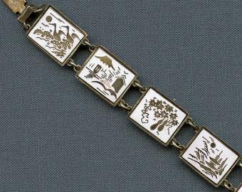 Enameled Bracelet Asian Japanese Scenes Vintage White Japan 8 Links 1388