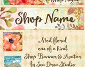 mod floral Etsy Shop Banner and Avatar by Sea Dream Studio one of a kind