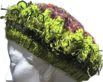freeform crochet, knit hat, dreadlocks option, Good Hair Day Tam, hat, fashion accessory, boho, purple, green