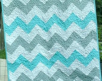 Chevron Baby Quilt Boy Girl Crib Bedding Nursery Bedding  Aqua Gray White gender neutral