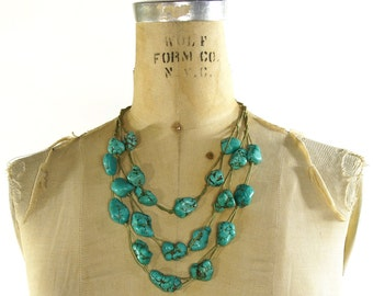 Chunky Turquoise Necklace / Multi Strand Huge Raw Turquoise Beads on Hemp / Vintage 1980s