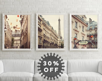 SALE Paris Prints Set, Paris Photography, Travel, Large Art, Neutral Wall Art Prints, Paris Decor French Wall Decor, Eiffel Tower Metro Sign