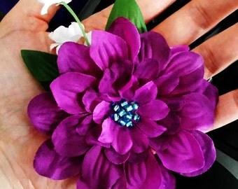 Purple Dahlia Hair Snap Clip, Cute Beaded Flower Hair Accessory