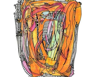 """Orange Crush, Whimsical, 11"""" x 14"""" print, 9"""" x 12"""", Print, Abstract, Art, Funky, Drawing, Painting, Illustration, doodle, surreal"""