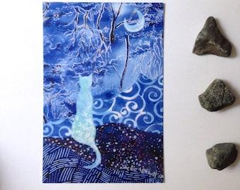 Blue blue evening, blank post card, indigo blue, cat, night moon, glossy finish 4 x 6