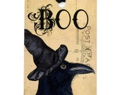 Halloween Tags , Raven Tags , Crow Gift Tags , Witch Hat , Boo Tags , Primitive , Vintage Tags , Vintage Halloween , Black Bird
