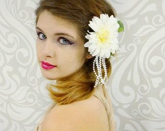 Vintage Style Bridal Fascinator, White Flower Hair Clip, Great Gatsby, Roaring 20's, Art Deco, Mucha, Bridal Hair, Woodland, Pearls, Mori
