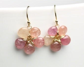 Holiday SALE -- Ombre Pink Sapphire Flower Earrings . Pink Sapphire Dangle Earrings .