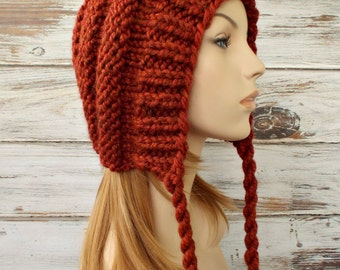 Burnt Orange Womens Hat Ear Flap Hat Beanie - Georgette Beehive Bonnet Hat in Rust Orange Knit Hat - Womens Accessories Winter Hat
