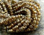 Golden Praline (50) -Czech Glass English Cut Rounds 3mm