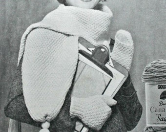 Knitting Patterns Hat Mittens Scarf Set Beehive Patons 318 Women Vintage Paper Original NOT PDF