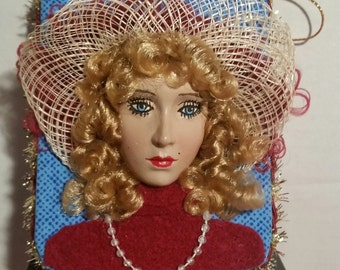 Handcrafted Lady w/Hat Hanging Plaque or Ornament