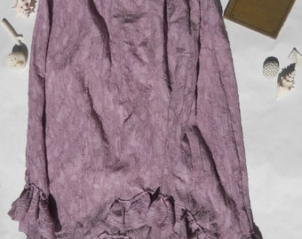 Womens Ruffled Skirt Whimsical Lilac Gypsy Petticoat Tattered Repurposed Romantic Silk and Viscose Mori skirt plus size ruffles XL XXL