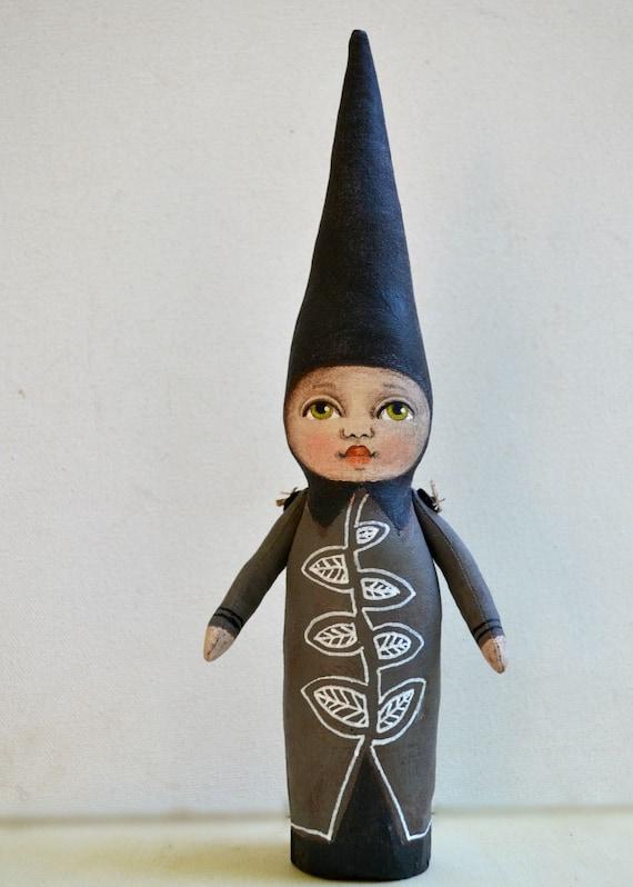 Original Hand Painted Folk Art Cloth Doll Sculpture Gnome Elf Woodland Creature OOAK