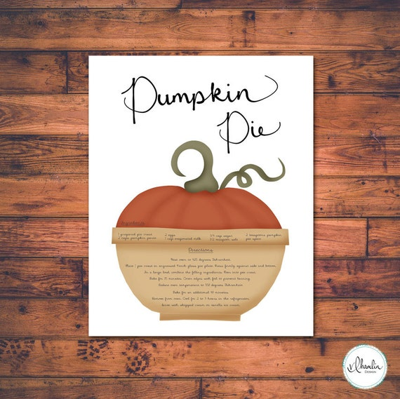 Pumpkin Pie Recipe Print, Printable, Kitchen Art, Kitchen Wall Decor, Pumpkin, Kitchen Decor, Thanksgiving, Kitchen, Fall, Instant Download