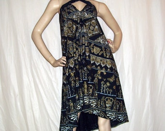 Grecian Goddess Sundress Black Gold Vintage Cotton Fabric OOAK Hippie Tunic Tent Artsy Resort Dress Greek Adult OsFM Maternity Cruise