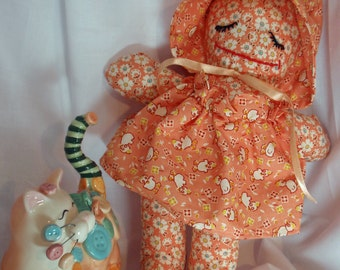 """Lily- Handmade Cloth """"Bonnet Baby"""" Doll (cat not included)"""