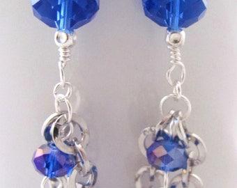 Dark Blue Earrings Sapphire Blue Earrings Round Silver Chain Dangle Earrings