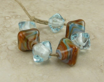 Made to Order Painted Desert - Lampwork Crystal Shaped Beads Teal Aqua Rust Turquoise Copper Summer Focal Bead SRA - I ship Internationally