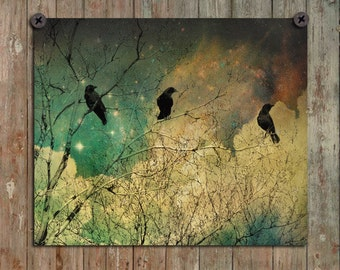 Crows Art Image, Ravens Photograph, Gothic, Blackbirds Wall Decor, Stars, Retro Colors, Grunged, Birds, Clouds, Surreal - Burnt Sky