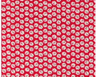HALF YARD Yuwa - Petite Rose Buds on Red- Atsuko Matsuyama 30s collection - Japanese Import Fabric