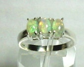 6x4mm Ethiopian Opal Cabochon Gemstones in 925 Sterling Silver Three Stone Ring Size 7