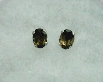 7x5mm Smoky Quartz Gemstone in 925 Sterling Silver Stud Earrings SnapsByAnthony
