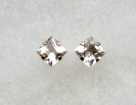 White Topaz 5mm Princess Cut  Gemstones in 10k Yellow Gold Stud Earrings