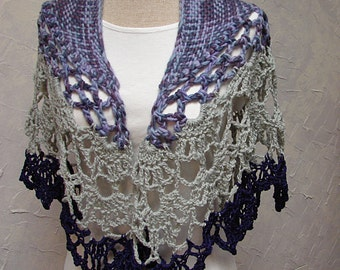 Woven Shawl with Crocheted Lace Border Purple Gray and Deep Purple Lace Shawl Woven