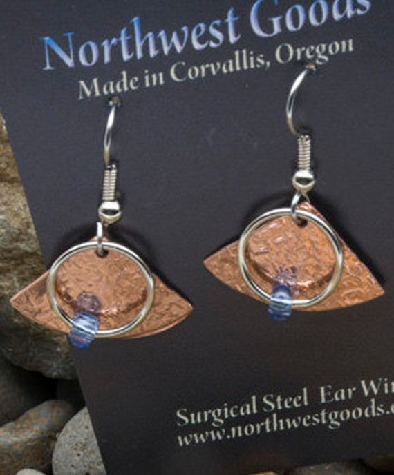 Copper and purple earrings