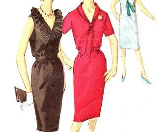 Simplicity 5513 Belted Shift Neckline Variations Size 16 Bust 36 Middy Collar VINTAGE 1960s ©1964